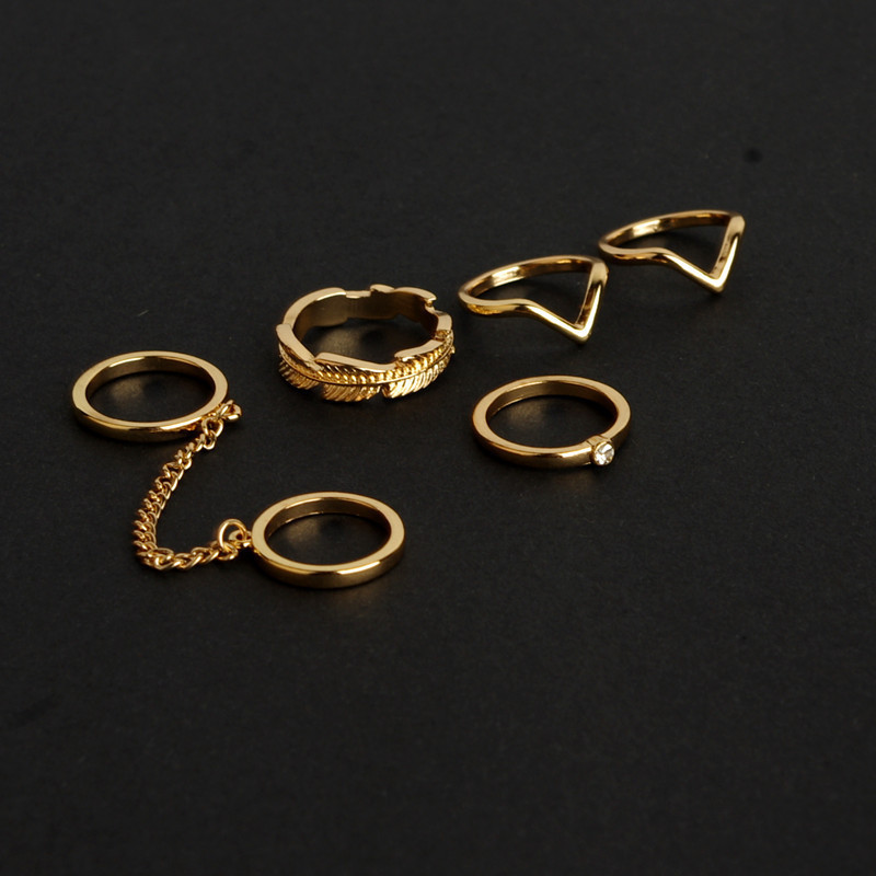 new 6pcs /lot Shiny Punk style Stacking midi Finger Knuckle rings Charm Leaf Ring Set for women Jewelry