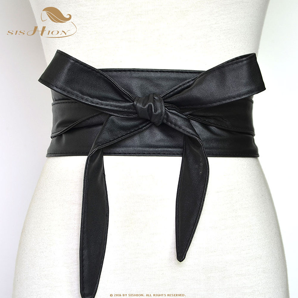 SISHION Fashion Corset Belts For Ladies QY0245 Black Yellow Red Wide High Waistband Bow Women Dress Waist Belt Cummerbunds