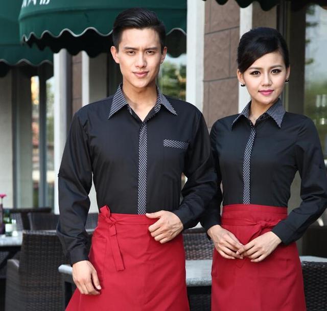 7955b147f41 Hotel Uniform Autumn Winter Female Restaurant Waiter Uniform Cafe Waiter  Work Wear Black Chef Jacket Shirt