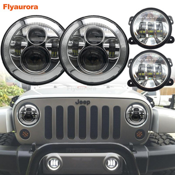Flyaurora 2 pair new replacement 40w 7inch headlight led with 4 inch 30W LED Fog Lamps for jeep wrangler JK Car accessories