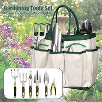 DIY 7Pcs/Set Gardening Tools with Carry Bag Scissors Shovel Spade Bonsai Flowers Planting Weeding Kits Garden Hand Tools Kit