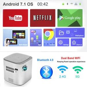 Image 2 - جهاز عرض معالجة رقمية للضوء صغير أندرويد جيب LED عارض فيديو لكامل HD 1080P مع واي فاي بلوتوث بطارية متعاطي المخدرات المسرح المنزلي السينما