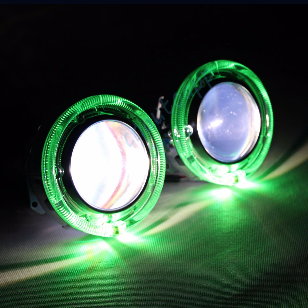 Car LED Headlights <font><b>RGB</b></font> Angel Eyes Cover Bluetooth App Auto Lens headlight 90W Hi/Lo Beam 3.0 Inches Projector Lamp <font><b>H4</b></font> Q5 Kit image