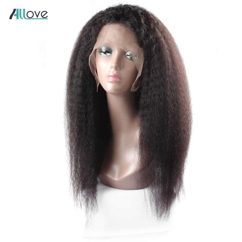 Allove 4X4 Yaki Straight Wig Remy Human Hair Lace Front Wigs With Baby Hair 180 Density Brazilian Lace Front Wigs Pre Plucked