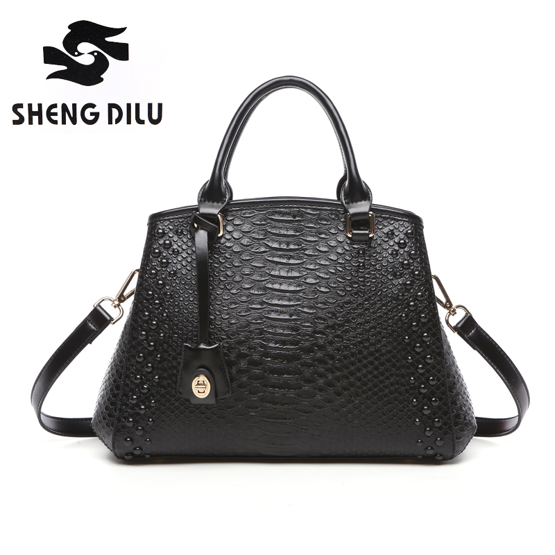 ФОТО Shengdilu Women's Alligator Genuine Leather Purse Zipper Hard Shoulder Bag Crossbody Fit Ipad Handbag Solid Satchel Casual Black