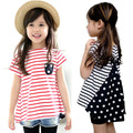 Горячий продавать 2016 Sz90 ~ 130 девочек летние футболки для детей вершины тройники ребенок с коротким рукавом футболки полосы