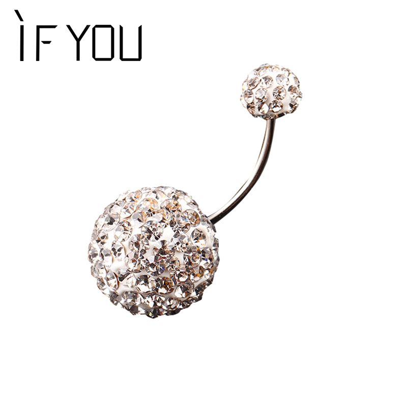 HVIS DU Trendy Ball Hvit Krystall Navel Ring Rustfritt Stål Piercing Belly Button Rings Body Fashion Jewelry Summer Style Women