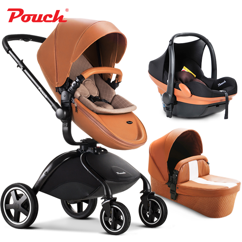 Original Pouch Hot 0 4 Years Old Metal 3 In 1 Baby Stroller Leather Folding Pram Independent Sleeping Basket Four Wheels From Mother
