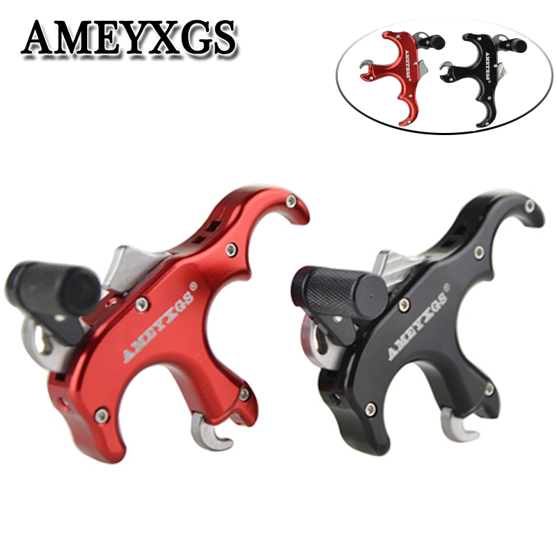 1pc Arcehry Aluminum Alloy 3 Finger Release Aids Automatic Thumb Grip Trigger Caliper Outdoor Hunting Shooting Accessories in Bow Arrow from Sports Entertainment