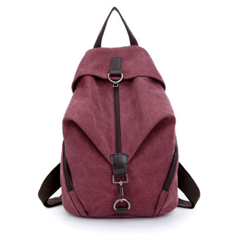 2018 Women Canvas Backpack Preppy College Student Fabric School Bag Young Teenage Girl Leisure Backpack Travel Bag Pink Red