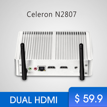 Cheapest Fanless Mini PC Windows PC Celeron N2807 Dual HDMI Windows 7 Mini Computer WIFI USB mimipc office software