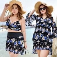 VERZY Fat Girl Plus Large Size 3XL 6XL Print Floral 3 Pieces Swimwear Tankinis Skirt Blouse