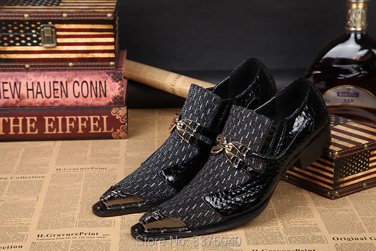 Free Shipping Metal Toe Men Dress Shoes Pointed Wedding Shoes Men Patchwork Slip-on Casual Flats Shoe