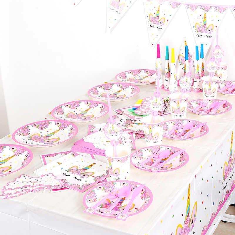 ยูนิคอร์นสีชมพูการ์ตูนสัตว์ธีม BOY GIRL Birthday PARTY Holiday PARTY กระดาษถ้วยกระดาษถาดดึงธงอุปกรณ์ทิ้ง