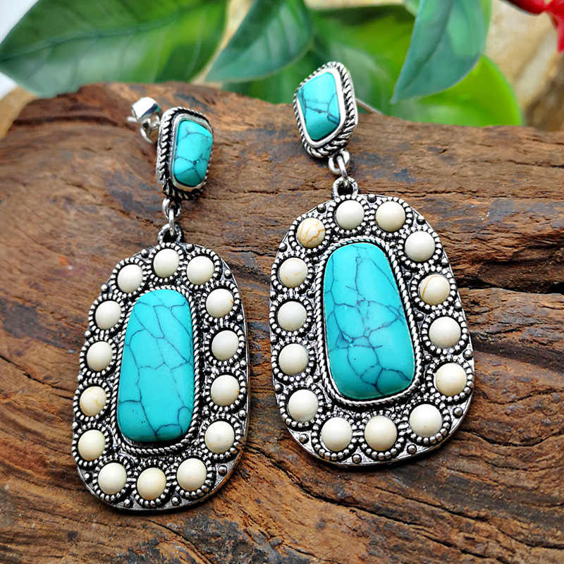 Bohemia Vintage Square White Stone Long Drop Earrings for Women Natural Blue Turquoises Dangle Earring Fashion Boho Jewelry 2019
