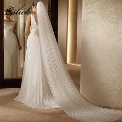 2020 элегантная свадебная фата 3 метра длинная мягкая Фата невесты с расческой 2 слоя слоновой кости белого цвета свадебные аксессуары