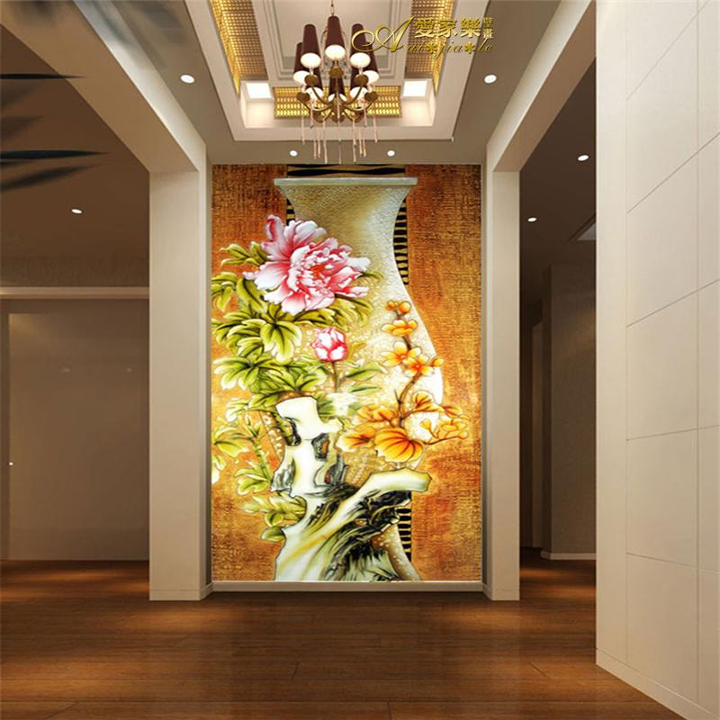 Large chinese style 3d peones vase mural wallpaper sofa tv for Chinese mural wallpaper