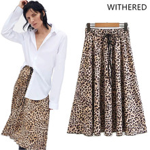 0e1586bb859 JennyandDave Withered 2018 BTS skirt women england style leopard print  pleated