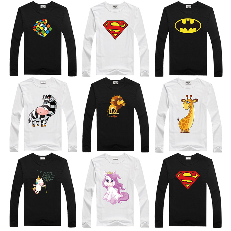 Girl Tshirt Children Tops Long-Sleeve Superman Kids Batman Toddler Boys Dmdm Pig