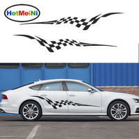 HotMeiNi 2 X Sporty Racing Checkered Flag Flutter Streamlined JDM Styling Accessories Car Sticker Stripe Vinyl Decal 13 Color