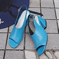 European Style Black Blue Open Toe Thick High Heels Women's Pumps 2017 New Arrival Fashion Elegant Beautiful All-match Shoes