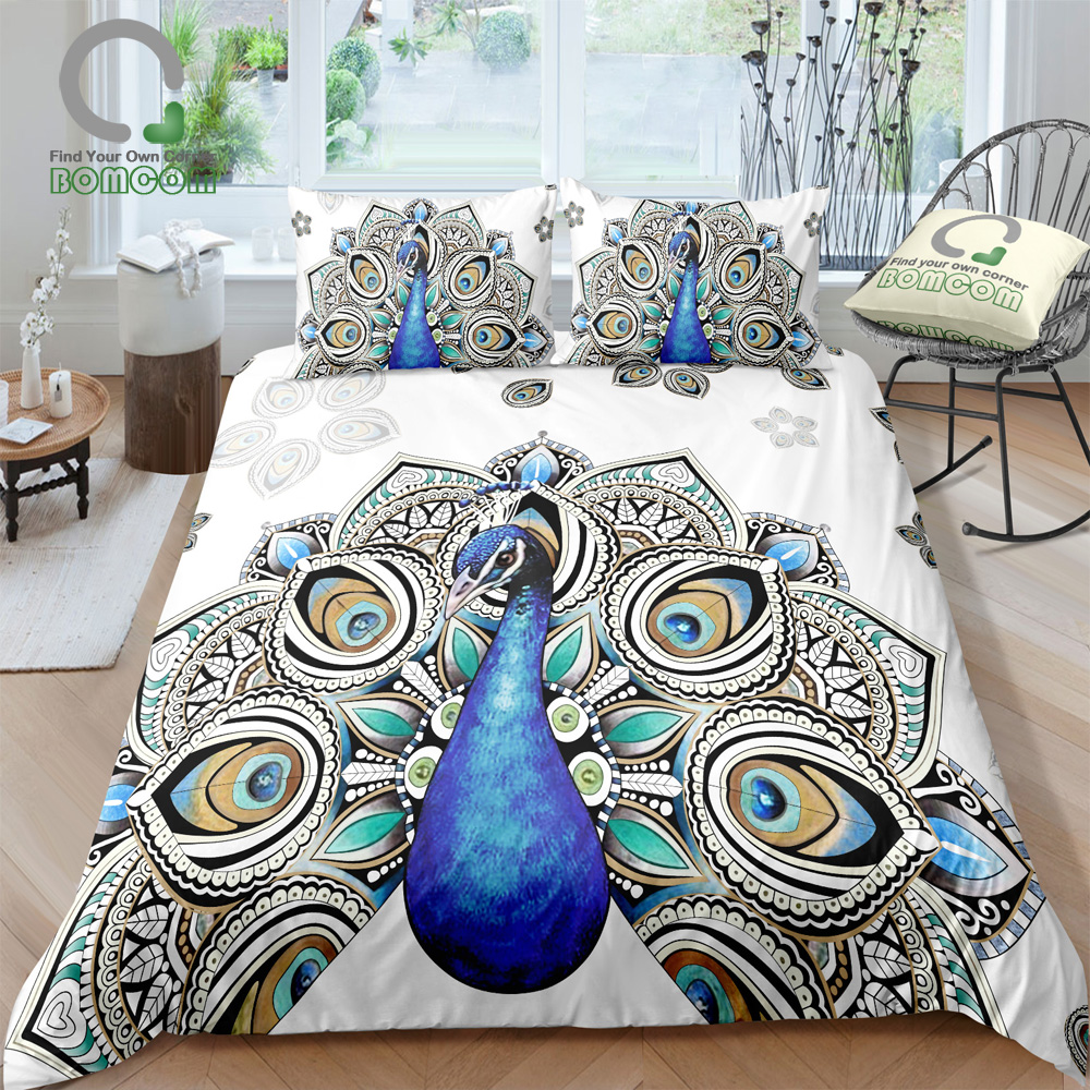 BOMCOM 3D Digital Printing Colorful Fashion Art with Peacock Pattern Bedding Set Animal Print Duvet Cover