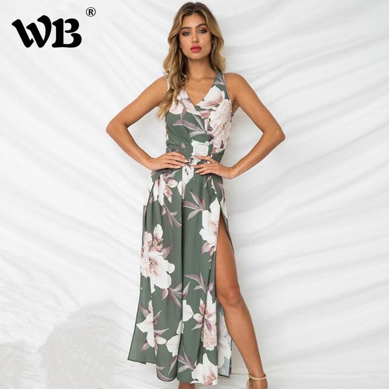 Sexy V Neck High Waist Floral Wide Leg   Jumpsuit   Elegant Women Summer Beach Sleeveless Rompers Casual Long Pants Overalls
