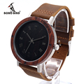 BOBOBIRD K06 Classic Red Sandalwood &Steel Watch Rome Digital Dial Face Soft Leather Strap Mens Watch As Gift Accept OEM Relogio