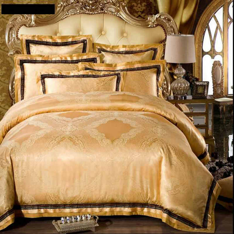 Ropa de Cama de Seda Jacquard de lujo Establece Rey Queen Size 4/6 unids Oro Bor