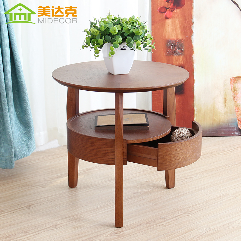 Small round wood table living room coffee table minimalist side table with drawers tea table Round coffee table in living room