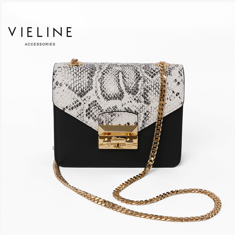 Vieline women genuine leather leather Chains Flap crossbody bag Designer Brand real leather serpentin shoulder bag
