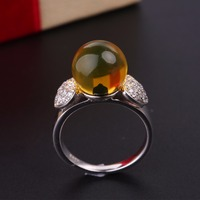 Robira Hot Sale Fashion Luxury Women Engagement Jewelry 925 Sterling Silver Natural Blue Amber Female Wedding