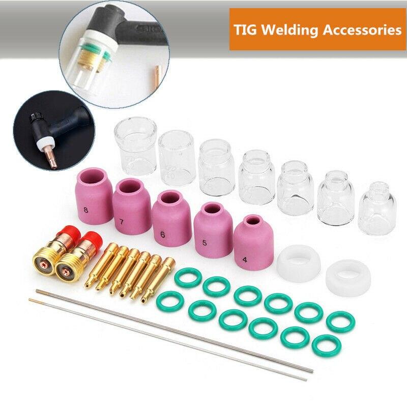 36x/Set TIG Welding Seal Ring Electrode Clamp Slot Joint Ceramic Cup Needle Kit36x/Set TIG Welding Seal Ring Electrode Clamp Slot Joint Ceramic Cup Needle Kit