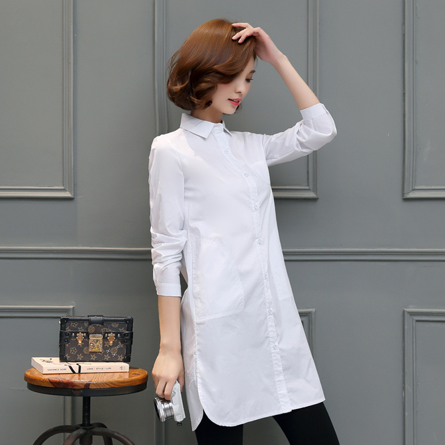 Women White Blouse 2019 New Fashion OL Long Shirt Women Tops Long Sleeves Turn-down Collar Casual Blusas Mujer Plus Size S-5XL