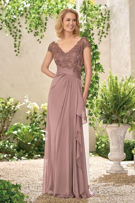 Élégant col en v en mousseline de soie dentelle pas cher une ligne mère de la mariée robes de soirée longue robe formelle Vestido mae da noiva