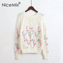 NiceMix 2017 Autumn Winter Elegant Pullover Sweater For Women Flower Embroidery Casual Knitted Pullovers Loose Female Knitwear