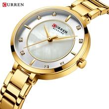 CURREN 2019 Womens Watches Golden Rhinestone Analog Round Quartz Watch Dress Bracelet Chain Waterproof Lady Wristwatch Dropship