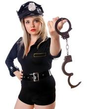 Ролевые игры Серебряные Металлические наручники косплей с ключами полицейская ролевой косплей взрослые игрушки полицейская игрушка для детей мальчик дропшиппинг