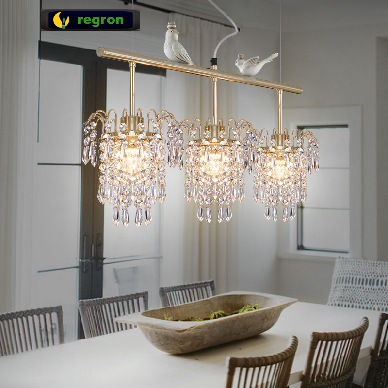 Modern Simple Luxury American Restaurant Pendant Light Creative Rose Gold Plating Crystal Pendant Lamp Dining Room