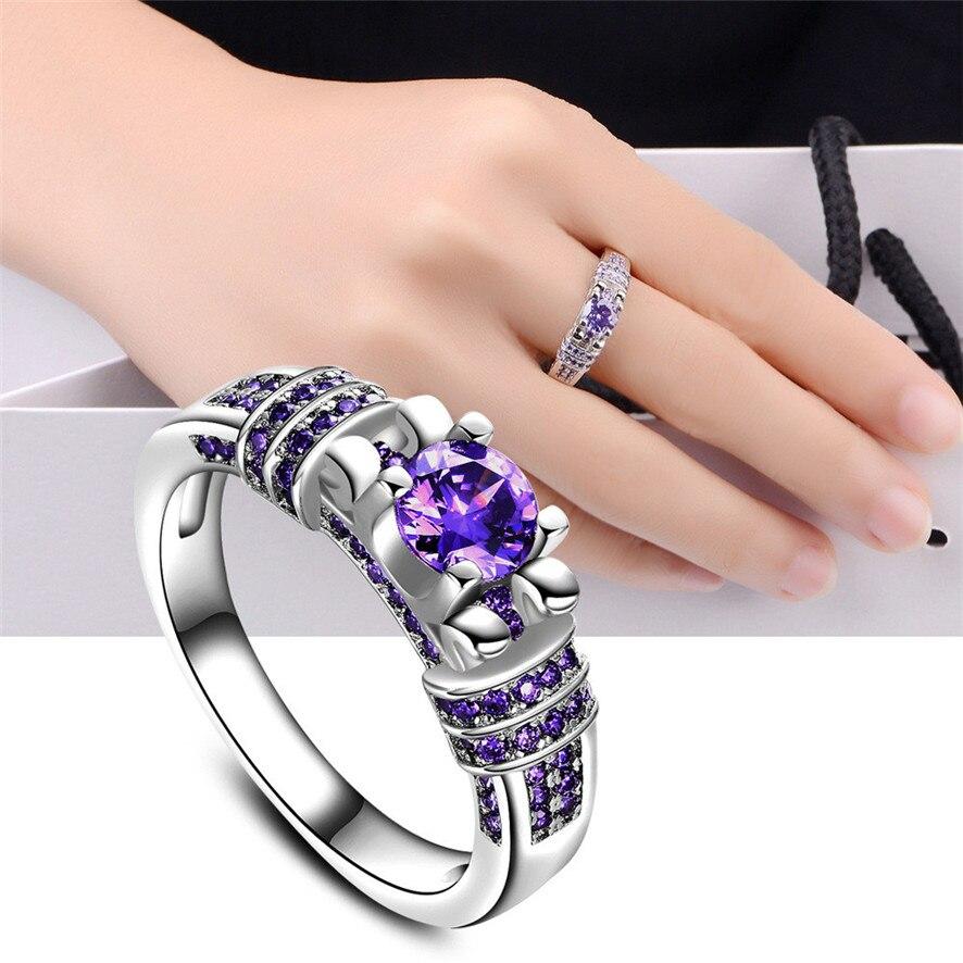 Best Price 2017 New Women Fashion Jewelry Silver Purple Zircon Wedding Ring Size 6 10