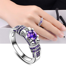 Best Price 2017 New Women Fashion Jewelry Silver Purple Zircon Wedding Ring Size 6-10