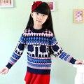 Девушки осень свитер дети хлопок и шерстяные свитера детский мультфильм большая девочка мультфильм свитер девушки печать олень