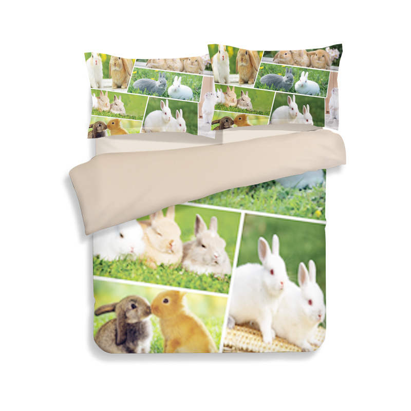 Hot Rabbit 3D Printed Comforter Bedding Sets Single Twin Full Queen King Size Quilt/Duvet Cover 3pc Child Girls Bed Linens Green