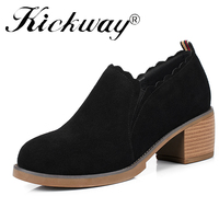 Kickway Women's Leather Med Heels New High Quality Shoes Classic Black&Tan Pumps Shoes for Office Ladies Shoes cow suede round