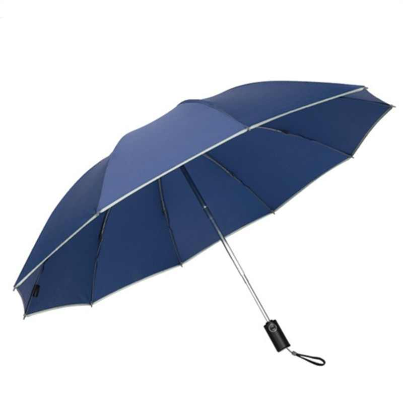 Reflective Big Parapluie Inverse Umbrella For Car Business Foldable Umbrella Rain Men Women Automatic Reverse Umbrellas Strong