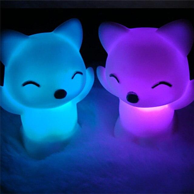 Favores Do partido 7 Alterando As Cores Lindo Fox Forma LED Night Light festa de aniversário para um presente
