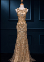 Mermaid O Neck Sleeveless Gold Color Open Back Red Color Tulle Embroidery Applique Back Long Name