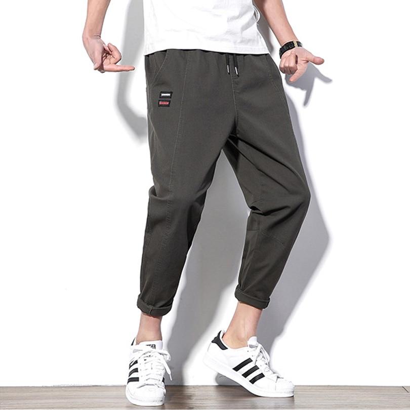 Men's Casual Pants 98% Cotton Slim Fit Men Summer Ankle-Length Pants ArmyGreen Black Streetwear Slim Fit Pants Fashions Men HK11