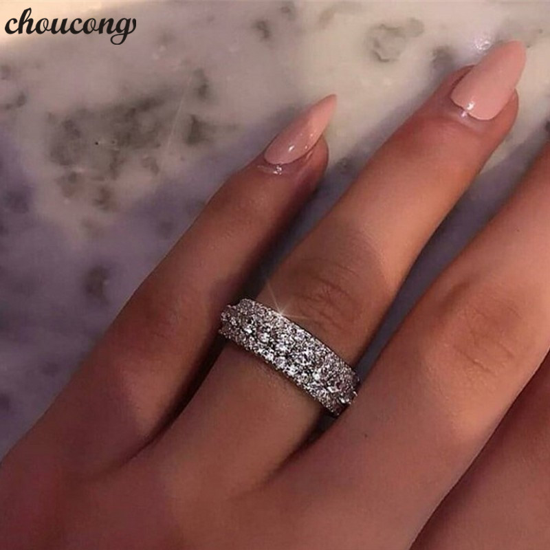 choucong Statement Rotatable Promise Ring 925 sterling Silver AAAAA Zircon cz Engagement Wedding Band Rings For Women Jewelry-in Wedding Bands from Jewelry & Accessories
