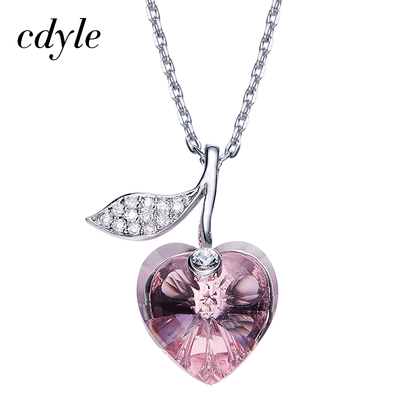 Cdyle Crystals From Swarovski Heart Shape Necklace Women Pendants Austrian Rhinestone Purple Trendy Chic Valentine's Day Gift